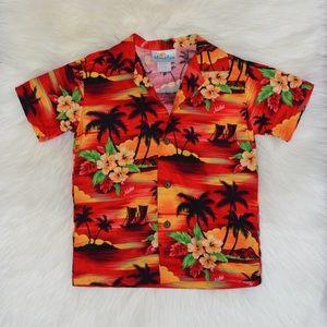 Hinalea Kids Hawaiian Print Button Down Shirt 4